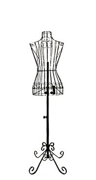 "Female Black Steel Wire Mannequin Dress Form 32""22""32"" on Decorative Stand (0004 Black)"