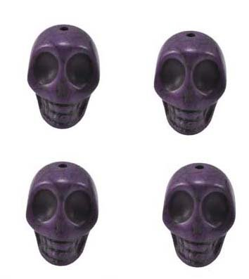 Purple Magnesite Dyed Gemstone Beads Carved Skull Beads, 24 X 21 X 18mm (4 Per Set)