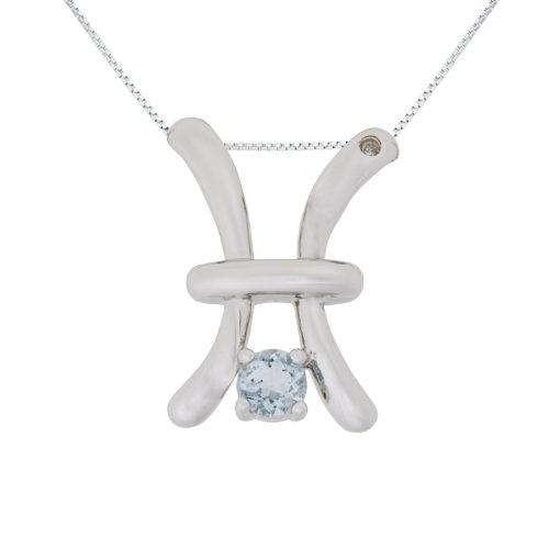 Sterling Silver Aquamarine and Diamond Pisces Pendant