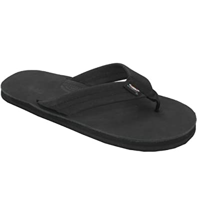Rainbow Sandals Kids Leather Flip-Flops - Premier Black 4-5