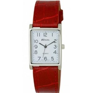 Ravel Ladies Rectangular Analogue Classic Red Pu Strap Watch R0120.10.1