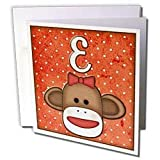 Dooni Designs Monogram Initial Designs - Cute Sock Monkey Girl Initial Letter E - Greeting Cards-6 Greeting Cards with envelopes