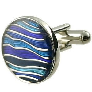 Odyssey Blue Cufflinks + Black Pouch