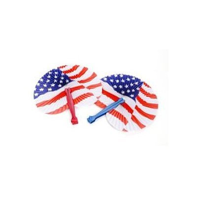 American Flag Stars and Stripes Paper Fans, Set of 12 - 1