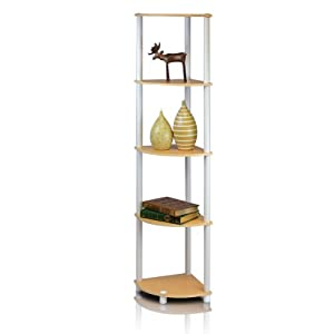 FURINNO 99811BE/WH 5-Tier Corner Rack Display Shelf, Beech
