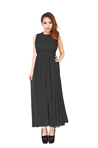 AM CLOTHES Womens Sexy Black Round Neck Long Cocktail Dress