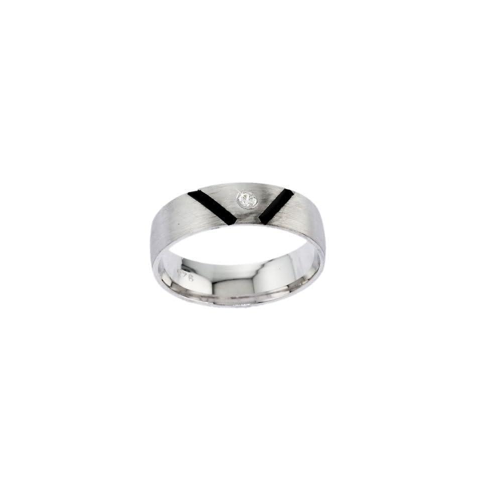 Dramatic CZ Diamond Black Enamel Silver Mens Ring discount jewellery