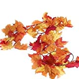 Factory Direct Craft Artificial Autumn Maple Leaf Garlands for Fall Decor, Thanksgiving and Autumn Weddings (12 Feet Total - 2 Garlands)
