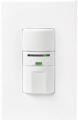 Cooper Wiring Devices VS106D1-C2-K Motion-Activated Vacancy Dimmer Wall Switch, White and Light Almond