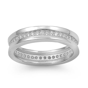 Rhodium Plated Silver Channel Set Eternity Cz Ring (6 - 9) - Size 7