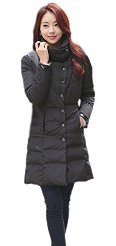 EOZY-Donna Giacca Piumino Slim Spesso Giacca Giubbotto Inverno Lunga (Petto 96cm, Nero)