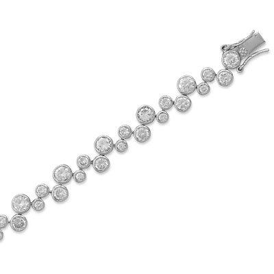 7 Inch Rhodium Plated Cubic Zirconia Bubble Bracelet