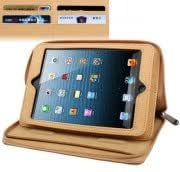 Litchi Texture Soft Leather Case / Bag with Holder Credit Card Slots for iPad mini 1 / 2 / 3 (Yellow)