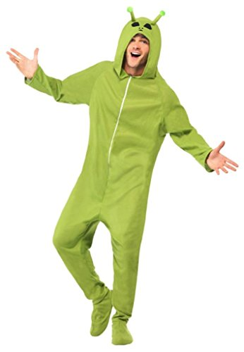 Smiffy'S Men'S Alien Costume All In One With Hood, Green, Medium