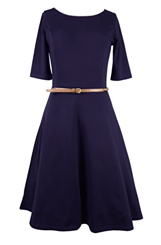 Modeway Women Half Sleeve Fit And Flare A Line Knee Length Skater Dress(No Belt) (Medium(US10-US12), Navy)