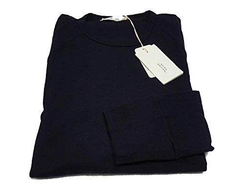MAURO GRIFONI maglia uomo stile felpa leggera BLU 50 %lana 50% cotone MADE IN ITALY L