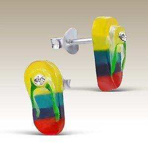 CUTE Rainbow Sandal Sterling Silver Plastic Childrens Earrings Post/stud