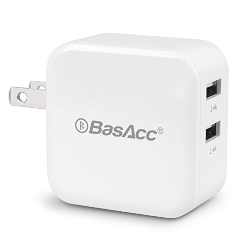 BasAcc 4.8A/24W 2-Port USB Rapid Travel Wall Charger W/ Smart Sense IC (Highest Output) for iPhone 7/7 Plus/6S/6S Plus, iPad, Samsung Galaxy S7 Edge/S7, More Apple and Android Devices, White (Light Up Car Amplifier compare prices)