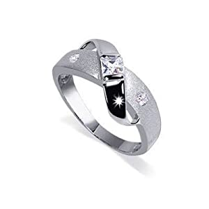 modern style sterling silver band cubic zirconia ring