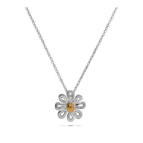 Gift Boxed Sterling Silver Daisy Jewelry Pendant Necklace with 16 Inch Chain