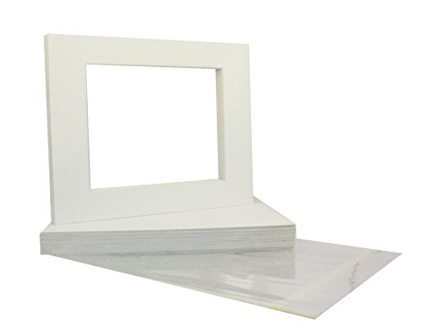 Mat Board Center Premier High Quality Crescent 11x14 White Picture Mat Sets. Includes a Pack of 50 White Core Bevel Cut Matte for 8x10 Photos, Pack of 50 Backers and 50 Clear Bags (White Center compare prices)