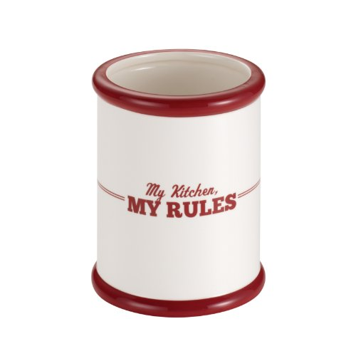Cake Boss Countertop Accessories Ceramic Tool Crock, Cream with Red My Kitchen