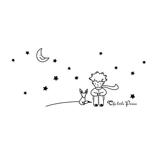 RETUROM-Estrellas-de-la-luna-El-Principito-Boy-etiqueta-de-la-pared-Decoracin-Adhesivos-de-pared-BK