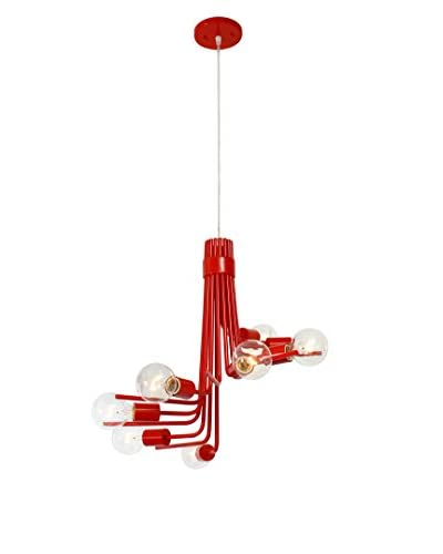 Varaluz Socket-to-Me 8-Light Chandelier, Radioactive Tangerine