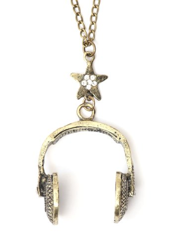 Dj Headphones Necklace Gold Tone Crystal Star Nh19 Retro Music Vintage Pendant Fashion Jewelry
