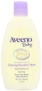 Aveeno Baby Calming Comfort Baby Bath, Lavender and Vanilla, 8 Ounce (Pack of 2)