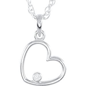 IceCarats Designer Jewelry Sterling Silver Sterling Silver .03 Ctw Diamond Heart 18 Necklace 18.00 Inch