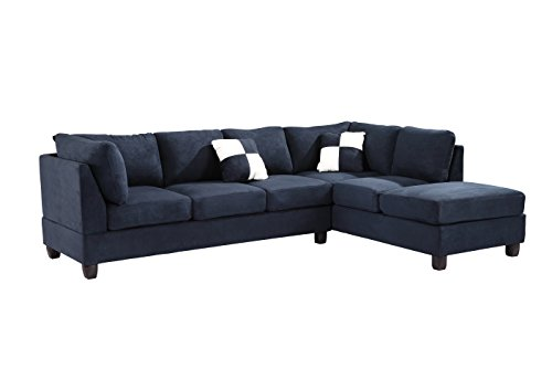 Glory Furniture G630 Sc Sectional Sofa Navy Blue 2 Boxes