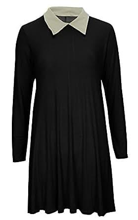 Women Ladies Flared Swing Long Sleeve Peter Pan Coller Dress Top SZ 8-22 (S/M (8-10), Black)