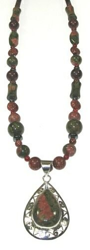 22 Inch Unakite and Jasper necklace with Pendant