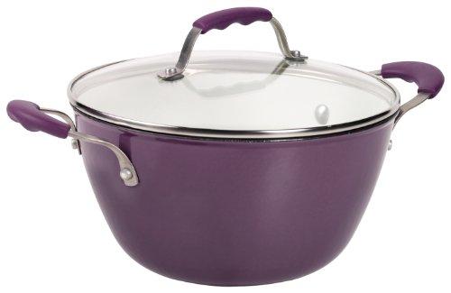 Denmark 4.4-Quart Covered Dutch Oven with White Enamel Interior, Purple