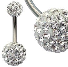 Swarovski crystals belly bar - surgical steel bar - hand made with over 100 swarowski crystals - bling bling!! - top ball is 6MM, bottom ball 9MM - packed in a lovely velvet pouch