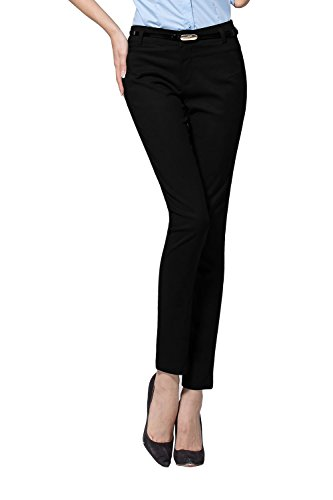 Women's Relaxed Fit Plain Front Straight Pants (XS, Black)¡