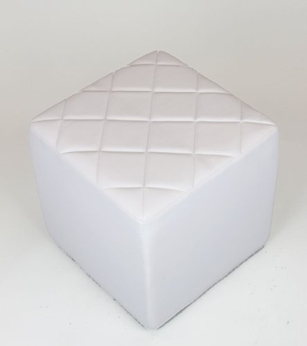 White Faux Leather Quilt Top Square Ottoman / Stool