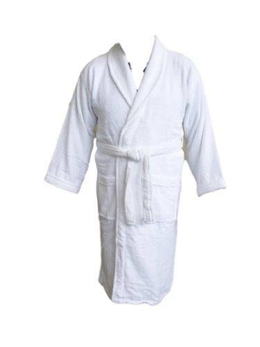 Da adulto-Accappatoio con colletto a scialle, colore: bianco, 100% cotone Terry Towelling. taglia: M
