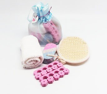 4 piece beauty set in a blue toiletry bag with string (face towel, toe sperator, sisal pad and pumice stone) - beauty