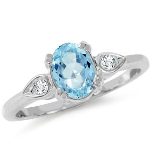 Natural Blue & White Topaz 925 Sterling Silver Engagement Ring Size 6
