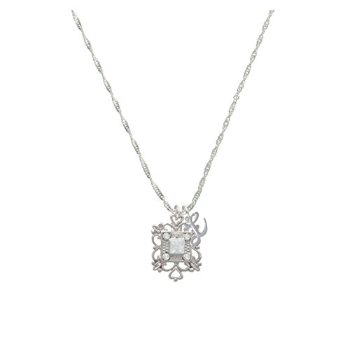 Square Ab Crystal With Filigree Mini Gelato Initial - L - Grace Necklace