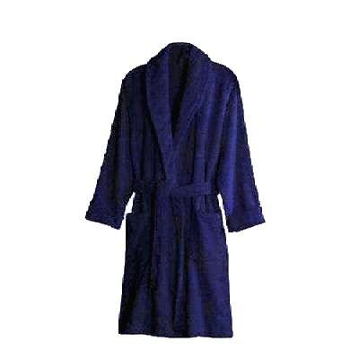 100% Cotton Terry Towelling Bathrobe Bath Robe + Matching Belt (Navy Blue)