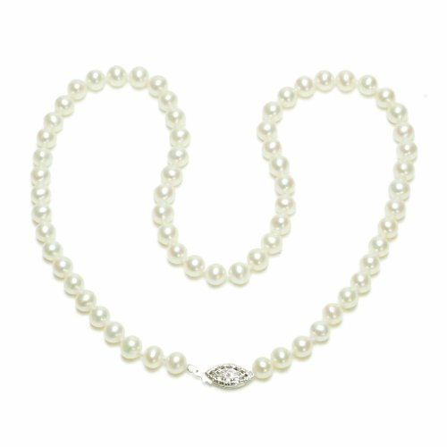 Sterling Silver White Freshwater Cultured Pearl A Grade 5.5-6mm Necklace, 16