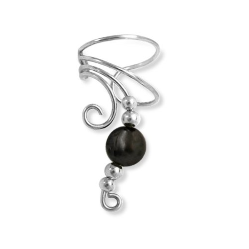 Bling Jewelry Ear Cuff Left Ear Hematite Gemstone Long Wave 925 Sterling Silver