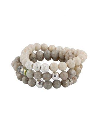 Tyler Mackenzie Designs Riverstone and Grey Feldspar Bracelet Set, Grey Feldspar/Riverstone, One Siz