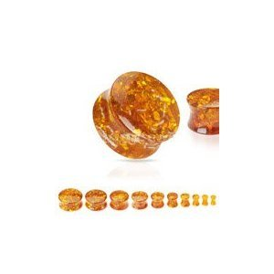 Voodoo Piercings- Body Jewellery-Flesh-Plug-Synthetic-Solid -Amber-Saddle- 6.5mm