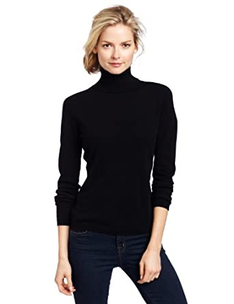 Sofie Women's 100% Cashmere Classic Turtleneck Pullover Sweater, Black,Small