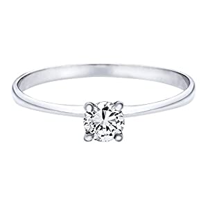 IGI Certified 14k white-gold Round Cut Diamond Engagement Ring (0.30 cttw, G Color, SI2 Clarity)