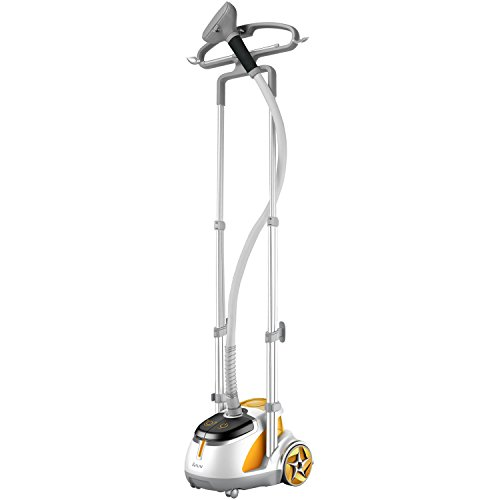 Salav Orange 1500 Watt Professional Series Dual Bar Garment Steamer With Foot Pedals & Fast Heating Large 1.65 Liter Removable Translucent Water Tank & Built-In Multifunctional Hanger With Dual Hanger Levels, Fold-Down Hanger Bar, Clips And Side Hooks